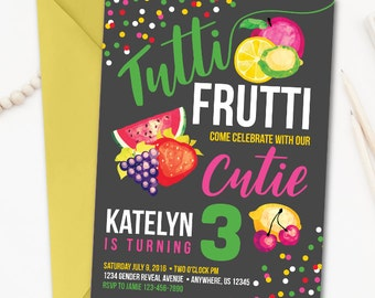 Tutti Frutti Invitation, Tutti Frutti Birthday Invitation, Fruit Invitation, Fruit Birthday Invitation, Tutti Frutti Party, Fruit Party