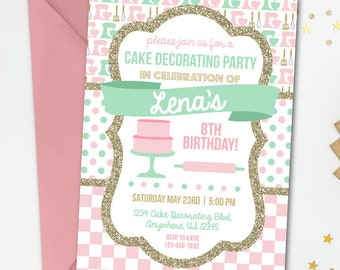 Cake Decorating Birthday Invitation, Baking Birthday Invitation, Baking Party, Cake Decorating Party, Retro