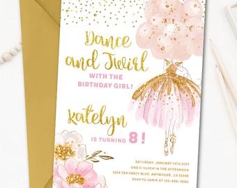 Ballerina invitation ballerina birthday invitation ballerina birthday invitation tutu birthday invitation ballerina invitation tutu invitation dance and twirl pink and gold filmwisefo