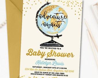 Adventure Awaits Baby Shower Invitation, World Baby Shower Invitation, Map BabyShower Invitation, Gender Neutral Invitation