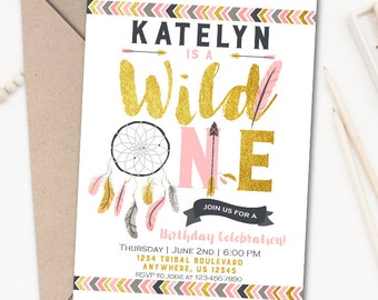 Wild One Invitation, Wild One Birthday Invitation, Tribal Birthday Invitation, Tribal Invitation, Aztec Birthday Invitation, Girl Birthday