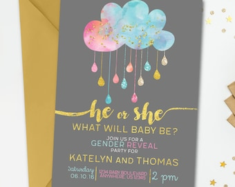 Gender Reveal Invitation, Gender Reveal Party, Gold Gender Reveal Invitation, Watercolor Gender Reveal Invitation, Blue or Pink, He or She