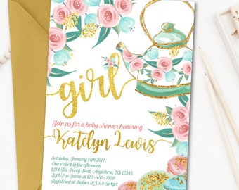 Tea Party Baby Shower Invitation, Tea Party Invitation, High Tea Baby Shower Invitation, Baby Shower Invitation, Floral Baby Shower