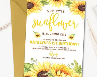 sunflower invitation etsy