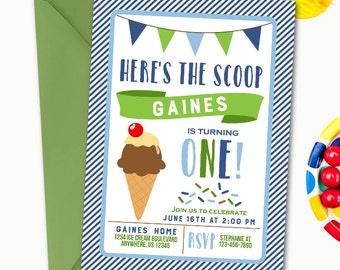 Ice Cream Invitation, Ice Cream Birthday Invitation, Ice Cream Party Invitation, Boy Ice Cream Birthday Invitation, Ice Cream
