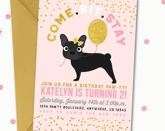 Puppy Birthday Invitation, Dog Birthday Invitation, Puppy Birthday Party, Dog Birthday Party, Pawty Birthday Invitation, Pink and Gold