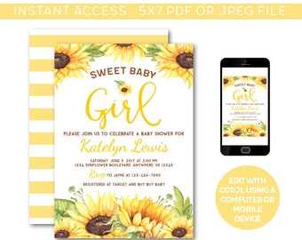 Sunflower Baby Shower Invitation Etsy