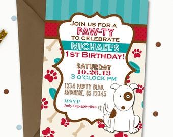 Puppy Birthday Invitation, Dog Birthday Invitation, Puppy Invitation, Dog Invitation, Puppy Birthday Party, First Birthday, Boy Invitation