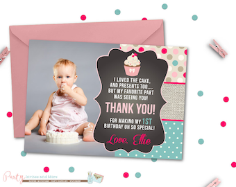 Pink Ombre Thank You Card First Birthday Thank You Card