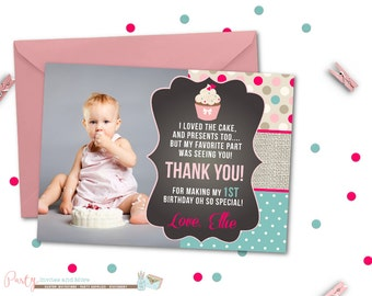 cupcake thank you card chalkboard thank you card cupcake thank you card first birthday thank you card photo thank you card - First Birthday Thank You Cards
