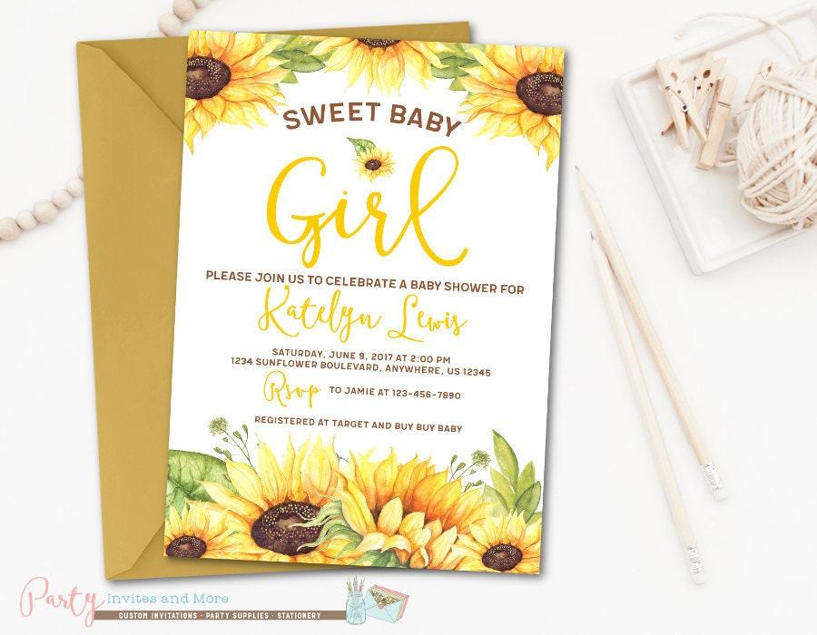 Sunflower Baby Shower Invitation Baby Girl Shower Invitation