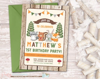 Woodland Birthday Invitation, Woodland Invitation, Forest Critters, Fall Invitation, Winter Invitation, Rustic Invitation, Fox Invitation