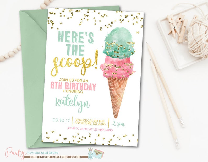 Ice Cream Invitation Ice Cream Birthday Invitation Ice Cream Etsy