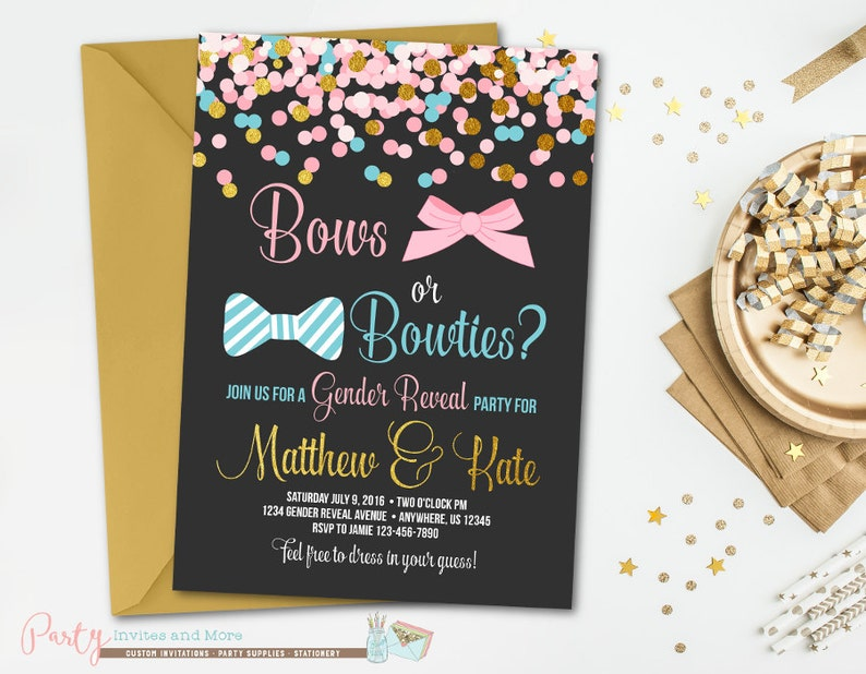 Gender Reveal Invitation Bows or Bowties Confetti Baby image 0