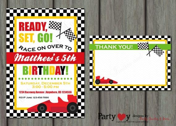 race car birthday invitation racing birthday invitation go etsy