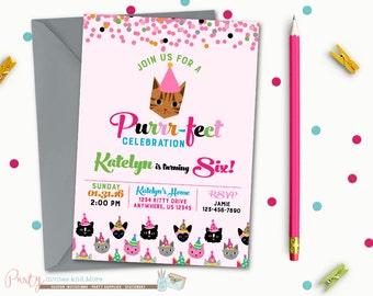 Kitty Birthday Invitation, Cat Birthday Invitation, Kitty Cat Birthday Invitation, Cat Birthday Party, Kitty Birthday Party, Kitten Birthday