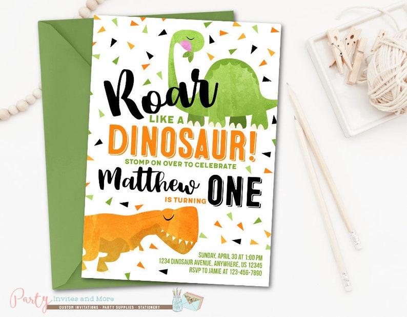 Dinosaur Birthday Invitation Boy Party