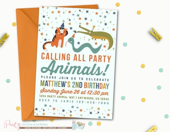 Party animals birthday invitation party animals invitation etsy image 0 filmwisefo
