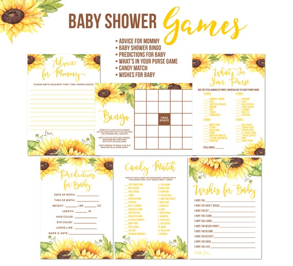 Advice and Predications Faux Wood and Sunflowers Baby Shower Game