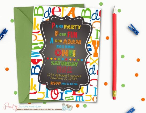 Alphabet Birthday Invitation First