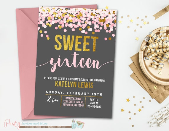 sweet 16 birthday invitation sweet 16 invitation pink and etsy