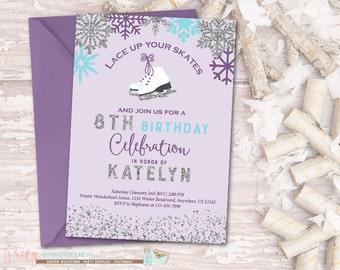 Ice Skating Invitation, Ice Skating Birthday Invitation, Winter Wonderland Birthday Invitation, Glitter, Winter Birthday Invitation, Skating