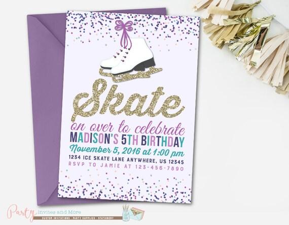 ice skating invitation ice skating birthday invitation etsy