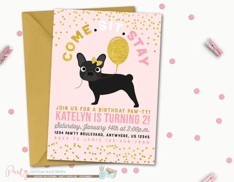 Puppy Birthday Invitation Dog Party Pawty Pink And Gold