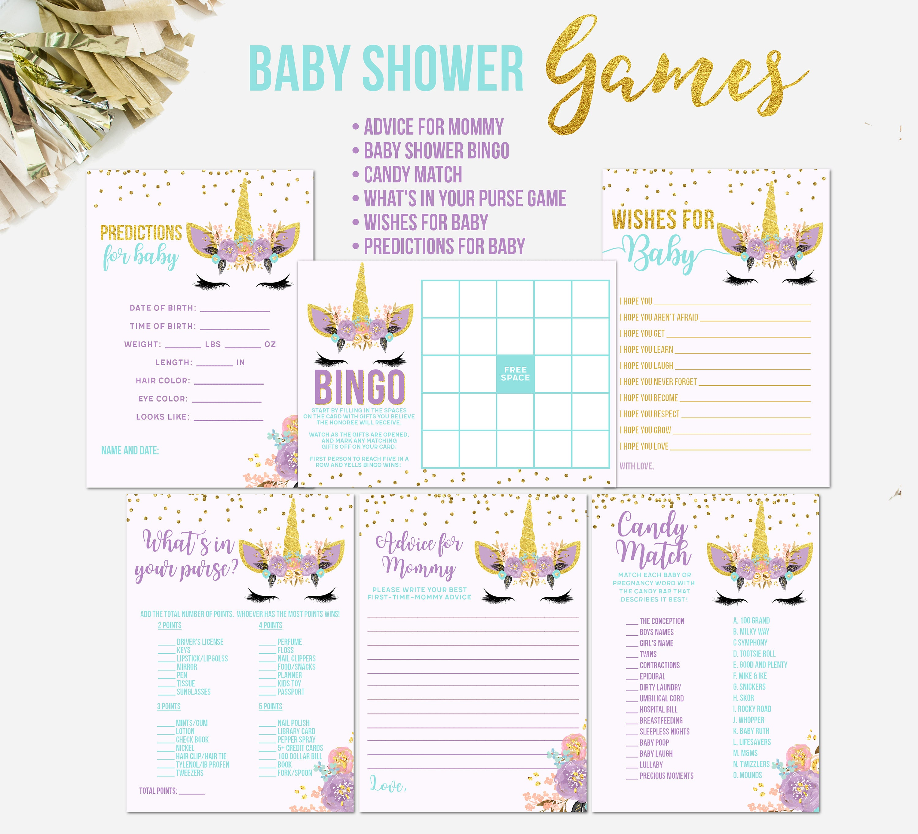 93597239690f3 Unicorn Baby Shower Games, Unicorn Face, Printable Unicorn Baby Shower  Games, Wishes for Baby, Advice For Mommy, BINGO, Prediction Cards