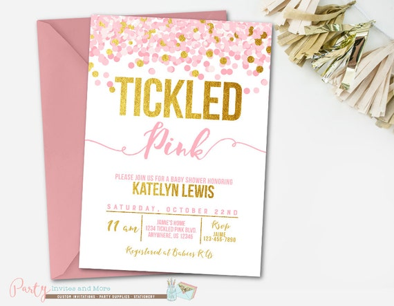 Tickled Pink Baby Shower Invitation Confetti Baby Shower Etsy