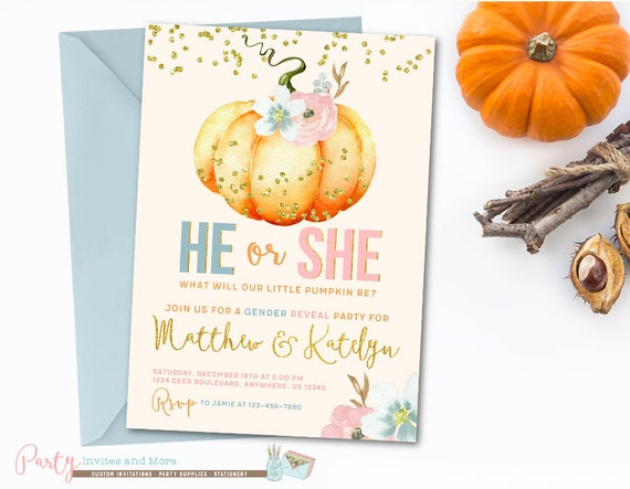 pumpkin gender reveal invitation pumpkin invitation pumpkin etsy
