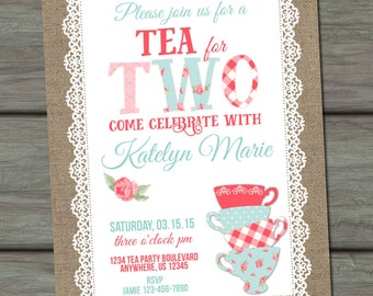 Burlap Shabby Birthday Invitation, Second Birthday Invitation, 2nd Birthday Invitation, Burlap Birthday Invitation, Tea for Two, Floral