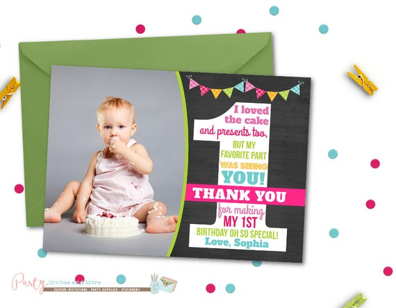 image 0 - First Birthday Thank You Cards