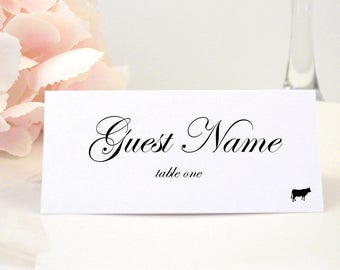 printed place card table card escort card name card folded elegant black animal choices entree classy classic script design - Printed Place Cards