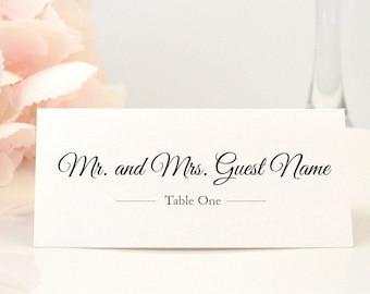 PRINTED Place Card, Escort Card, Table Card, Name Card, Folded, Ivory, Script, Calligraphy, Brown, Bronze, ELEGANT Script Design