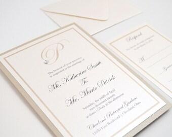 SALE! Monogram Wedding Invitation Set, RSVP Card, Wedding Invite, Custom, Simple, Elegant, Romantic, Chic, Calligraphy, Katherine Design