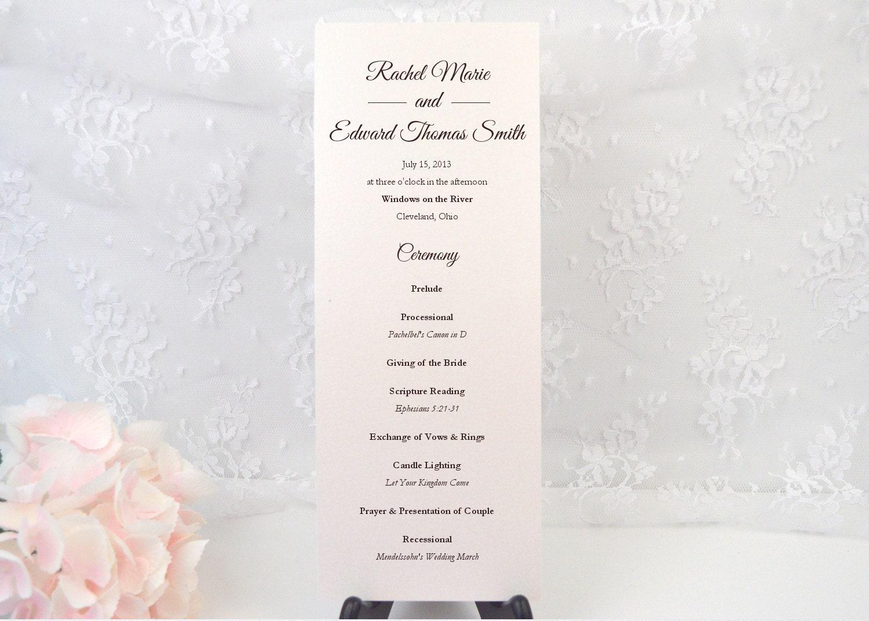 Simple Wedding Ceremony Script.Printed Wedding Ceremony Program Custom Program Long Tea Length Order Of Service Simple Program Romantic Calligraphy Elegant Script
