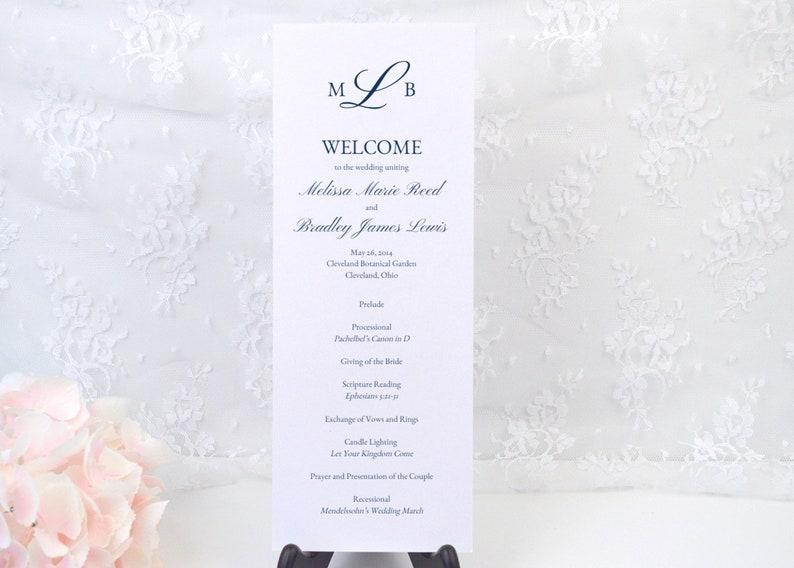 Long Tea Length Custom Program MELISSA PRINTED Wedding Ceremony Program Classy Navy Blue Romantic Simple Monogram Order of Service