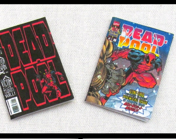 "2 DEADPOOL COMIC Books Miniature Readable Books Dollhouse 1:12 Scale 1"" Scale Marvel X-Men Super Hero Marvel Legends"