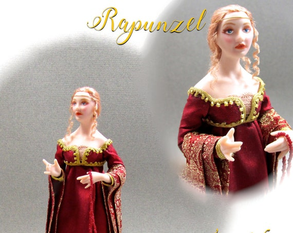 Dollhouse Doll RAPUNZEL Doll Pattern & Tutorial Instructions PDF Miniature 1:12 Scale Instant Download DIY Medieval Princess (Intermediate)