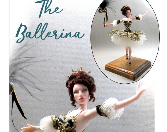 THE BALLERINA OOAK Porcelain Miniature Doll 1:12 Scale Dollhouse Woman Doll 1 Inch 12th Scale Swan Lake Masked Princess Dana