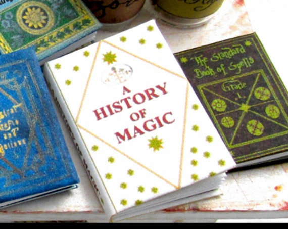 A HISTORY of MAGIC Magical Textbook Miniature Dollhouse 1:12 Scale Illustrated Readable Magic Witch Popular Boy Wizard Potter