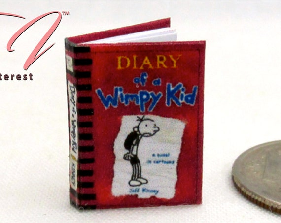 DIARY Of A WIMPY KID Miniature Dollhouse 1:12 Scale Illustrated Readable Book Children's Book Journal Cartoon