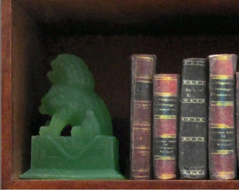 JADE LION MINIATURE Bookends Set of 2 Dollhouse Miniature Scale Decor Bookends 1:12 Scale
