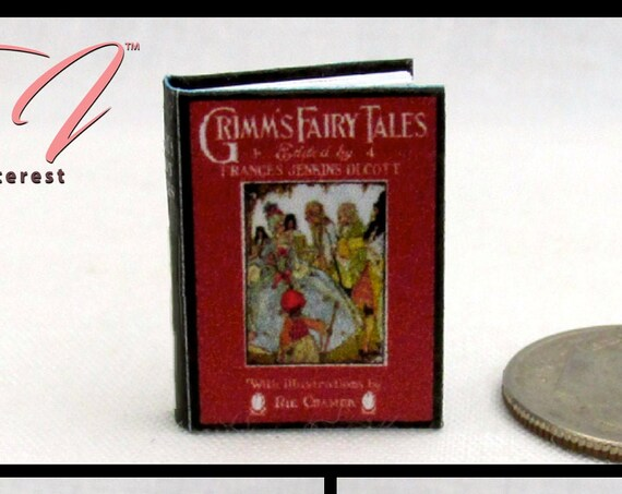 ILLUSTRATED GRIMM'S Fairy Tales Miniature Book Dollhouse 1:12 Scale Readable Once Upon Time Frog King White Snake Goose Girl Swans Children