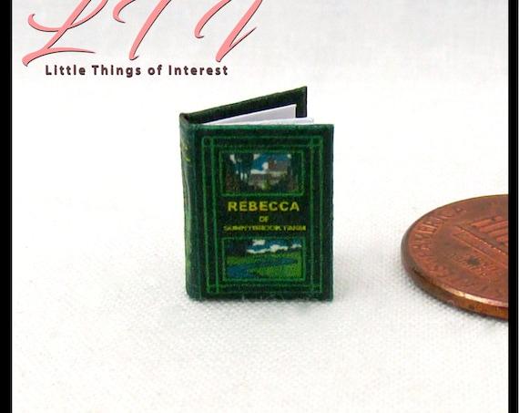 "1:24 Scale Book REBECCA Of SUNNYBROOK FARM Miniature Book Dollhouse Illustrated Book 1/2"" Scale"
