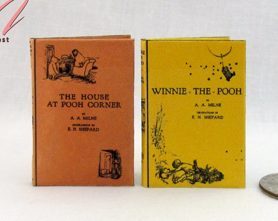 1:6 Scale WINNIE POOH Books Set of 2 Books Readable Illustrated Miniature Books Winnie the Pooh and House at Pooh Corner Blythe Barbie Scale