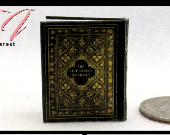 The FIVE BOOKS Of MOSES Readable Miniature Dollhouse Book 1:12 Scale Hebrew Jewish Religion God Church Old Testament Torah Judaism