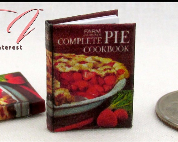 "COMPLETE PIE COOKBOOK Miniature Book Dollhouse 1:12 Scale 1"" Scale Opens Readable Desserts Recipes Kitchen Baking Tiny Food"