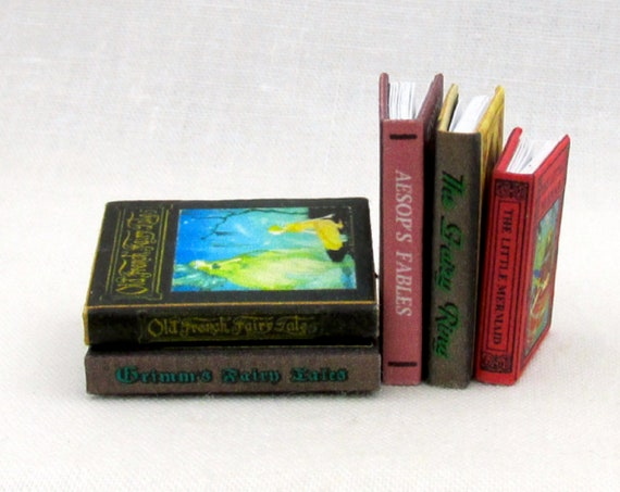 MINIATURE BOOK Dollhouse 1:12 Scale Illustrated Readable Children's Fairy Ring Grimm's Little Mermaid Old French Fairy Tales Aesop's Fables
